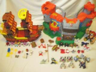 FISHER PRICE IMAGINEXT PIRATE SHIP & CASTLE LOADED TOY LOT