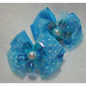 Girls Blue Flower Hair Bow Beauty