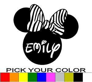 PERSONALIZED 24 MINNIE MOUSE EARS DECAL STICKER ZEBRA