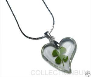 Lucky Shamrock Four Leaf Clover heart Necklace/Pendants