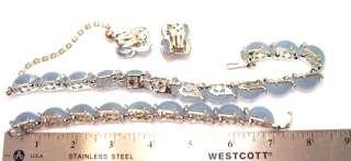 Kramer Baby Blue Moonglow Rhinestone Necklace Bracelet Earrings