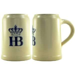 Hofbrauhaus Ceramic Beer Stein with Hb Logo and Pewter Lid