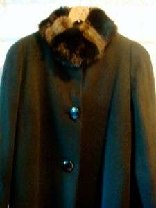 Beautiful Cashmere Black Full Length Real Fur Collar Lined Coat NWT