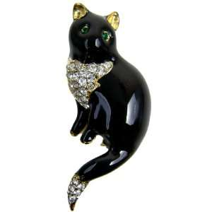 Black Cat Enamel Gold Plated Pin   Black Cat Gold Plated