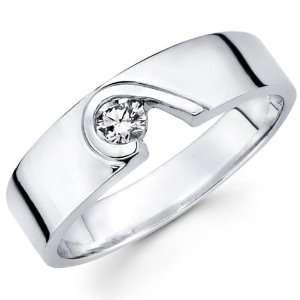 Modern Designer 14k White Gold Diamond Wedding Band