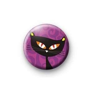 HALLOWEEN BLACK CAT Purple 1.25 Magnet