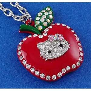 Red Apple Hello Kitty Cat Pendant Necklace n523