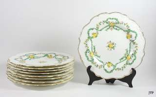 MINTONS PORCELAIN GREEN & YELLOW ROSE LUNCHEON PLATES