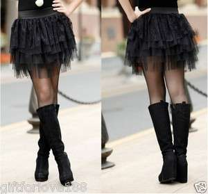 H4606 New Womens Black Lace Skirt 5 Row Mini Skirt