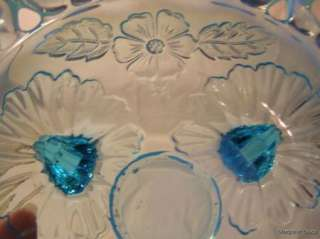 Northwood Shell & Wild Rose Blue Opalescent Open Bowl