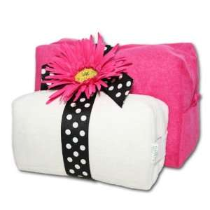 Monogrammed Cosmetic Bags Set   Hot Pink & White Beauty