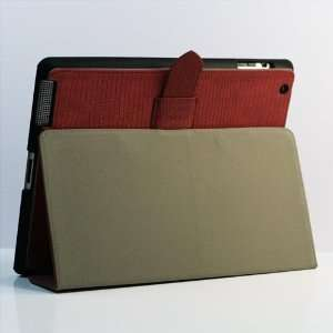 Red / Lizard pattern PU Leather Flip Stand Case / Cover