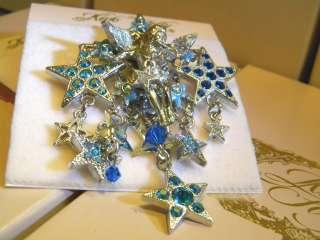 Kirks Folly angel stars Pin brooch enhancer borealis crystals