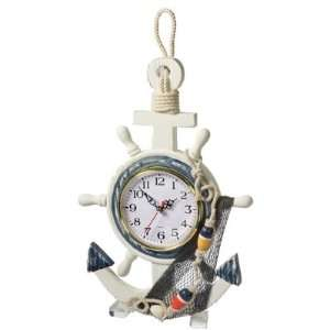 Wooden Anchor & Ship Wheel Clock Home & Kitchen