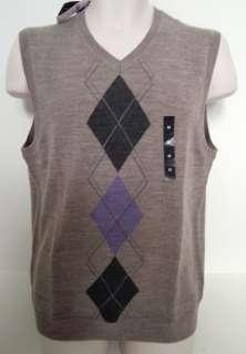 BANANA REPUBLIC Mens Tan Merino Wool Argyle Sweater Vest Size S XL NWT