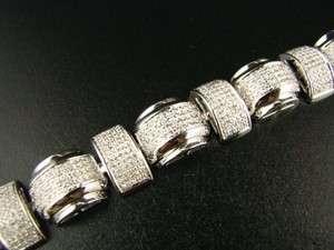 MENS VS ICY WHITE GOLD DIAMOND BRACELET BANGLE 5.05 CT