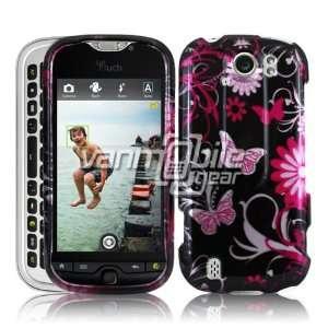 VMG HTC myTouch 4G Slide   Black/Pink Butterfly Design Hard 2 Pc Case