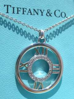 TIFFANY & CO. ATLAS DIAMOND 18K WHITE GOLD NECKLACE PENDANT BRAND NEW