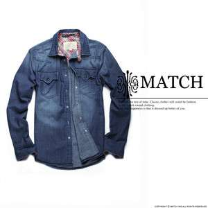 NEW MATCH Mens Look Sleeve Stylish Casual Denim Shirts Size M L XL