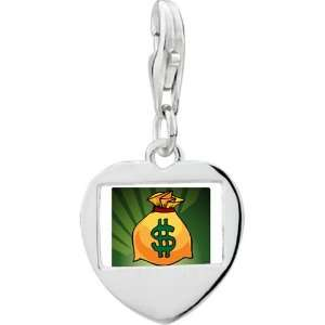 Sterling Silver Gold Plated Hobbies Money Bag Photo Heart Frame Charm