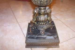 VINTAGE CAST IRON TABLE LAMP, WITH CHERUBS, ON ITALY MARBLE