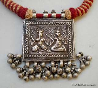 old silver amulet pendant necklace hindu god ganesh laxmi