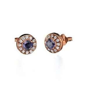 Halo Earrings, Round Iolite 14K Rose Gold Stud Earrings