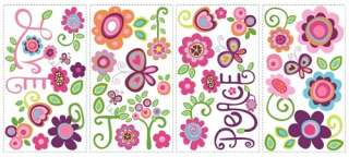 New LOVE JOY PEACE WALL DECALS Girls Flowers Stickers 034878978710