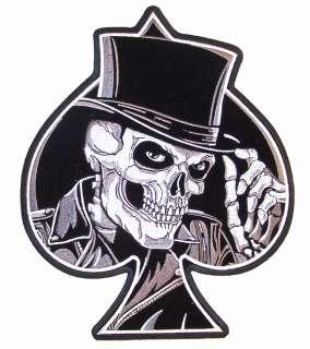 HUGE SKELETON TOP HAT SPADE PATCH JBP40 NEW biker skull novelty iron
