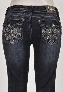La Idol Designer Rhinestone Jewel Cross Boot Cut Ladies Fashion Jeans