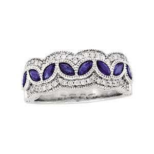 Genuine Diamond & Sapphire Anniversary Band 14k White Gold Sz 7 Ring