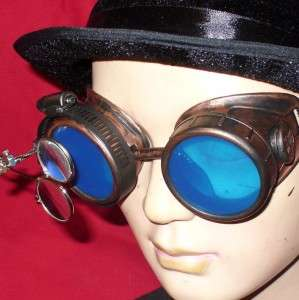 Steampunk Goggles Glasses magnifying lens Copper Blue