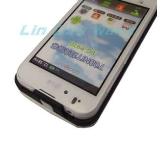 White Flip Leather Case Cover Pouch + LCD Film For LG OPTIMUS BLACK