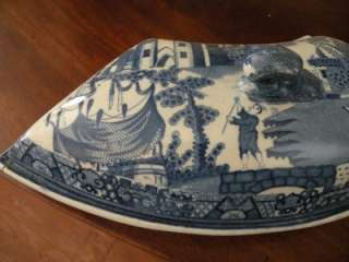 ANTIQUE ENGLISH STAFFORDSHIRE BLUE WILLOW SUPPER DISH
