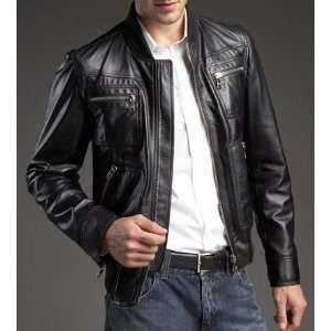Mens Manhattan Premium Leather Jacket (XS   2XL) Sports