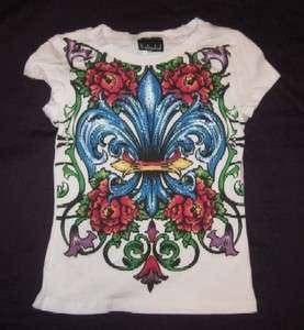 NEW Girls White Fleur De Lis T shirt with Rhinestone by Katydid
