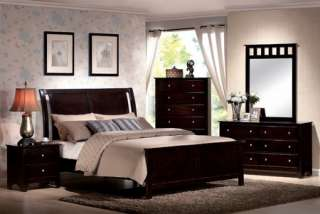 4Pc Contemporary Modern Espresso Brown Queen Bed Bedroom Set Furniture