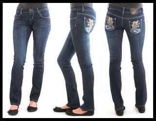NEW Ed Hardy Womens Orange Koi Fish Blue Jeans 27 29 Waist Skinny