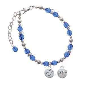 Peace with AB Crystal and Dove Blue Czech Glass Beaded Charm Bracelet