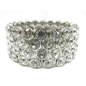 Beautiful Clear Crystal Metal Casting Stretch Bracelet Fashion Jewelry