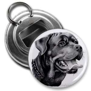 Creative Clam Rottweiler Dog Pencil Sketch Art 2.25 Inch Button Style