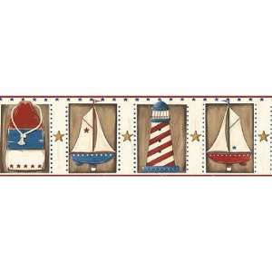 Red White Blue Country Nautical Wallpaper Border: Kitchen