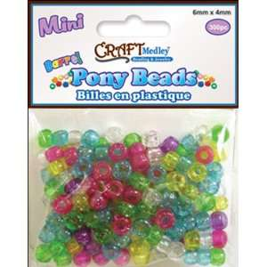 Mini Barrel Pony Beads 6mmX4mm  Sparkle Multi Mix   738380