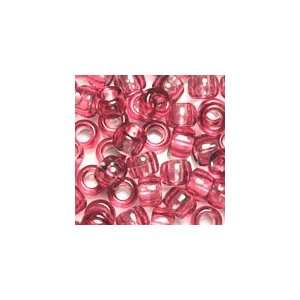 Fushcia Transparent Plastic Pony Beads 6x9mm, Value Pack
