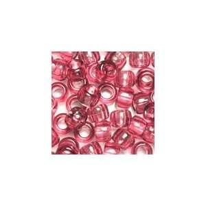 Fushcia Transparent Plastic Pony Beads 6x9mm, Value Pack