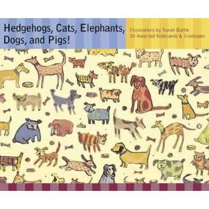 Hedgehogs, Cats, Elephants, Dogs, and Pigs! Notecards