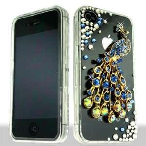 with Golden Blue Peacock Bird Animal Multicolor Gemstones White