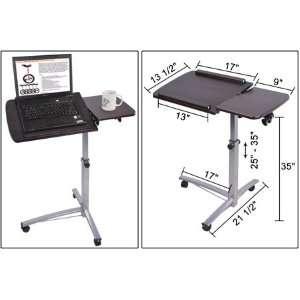 Rolling Laptop Desk w/ Tiltable Split Top Table Hospital