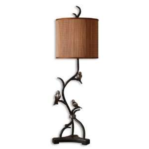 Three Little Birds Lamp In Metal Branches Finished In Rustic Bronze