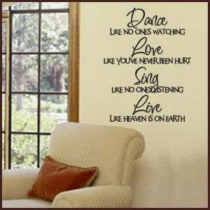 DANCE LOVE SING LIVE Vinyl Wall Decal LARGE